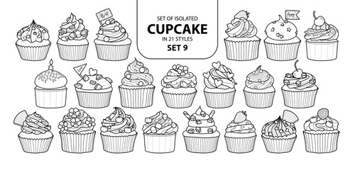 Set of isolated cupcake in 21 styles set 9.
