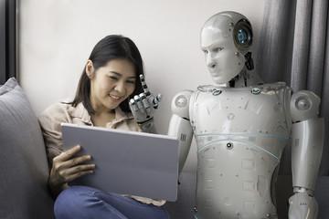 woman with robot advisor