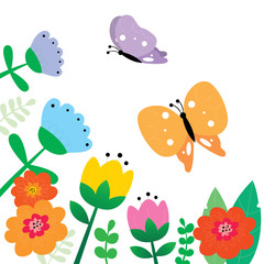 Cute butterflies with colorful flowers vector.