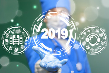 Future 2019 Healthcare concept. Medicine Modernization and Revolution. Modern Innovative Health Technologies. two thousand and nineteen.