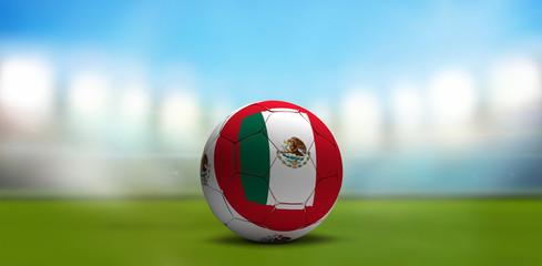 Mexico soccer football ball. Soccer stadium. 3d rendering