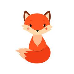 Cute cartoon fox in modern simple flat style.