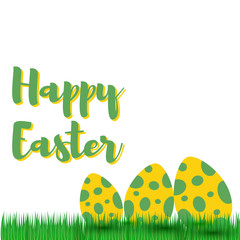 Decorative Easter eggs on green grass, vector illustration