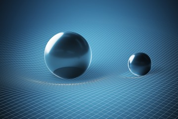 Gravity and general theory of relativity concept. Curved spacetime caused by massive spheres. 3D rendered illustration. Wall mural
