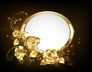 Oval banner with gold roses