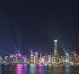 Laser show in Victoria Harbor in Hong Kong city