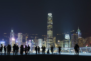 Skyline of Hong Kong city at night