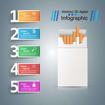 Business illustration of a cigarette and harm.