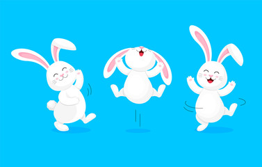 White rabbit jumping and dancing. Cute bunny. Happy Easter day, cartoon character design. Illustration isolated on blue background.