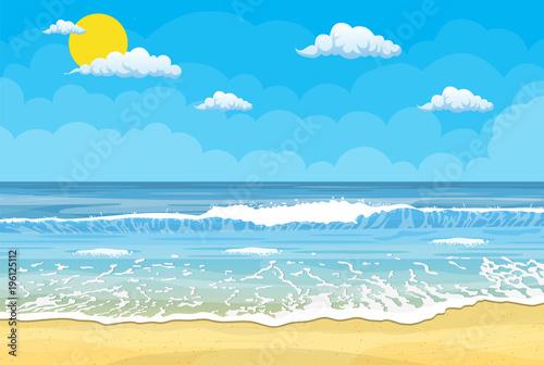 Sandy beach under the bright sun