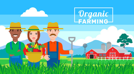organic farming banner.farmers team in field