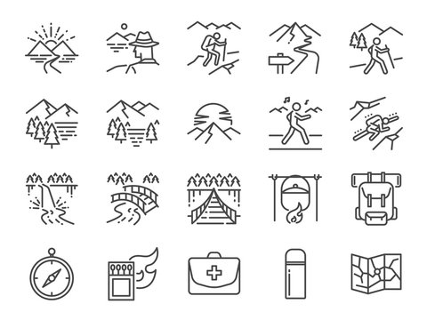 Trekking line icon set. Included the icons as view, nature, camping, mountain, forest, backpacking, travel, sunset and more.