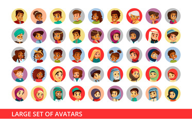 Social network user avatars vector cartoon illustration of people and children different nationality. Set of black Afro-american woman and Arabian man, Asian girl and Indian boy for profile account