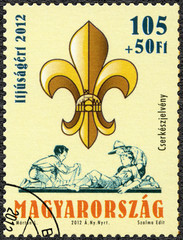HUNGARY - 2012: shows scout symbol, centenary of the foundation of the Hungarian Scout Association