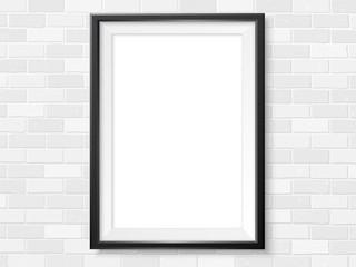 Frame white brick wall photoframe mock up vector black