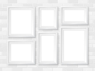 Frames wall gallery mockup white brick wall template