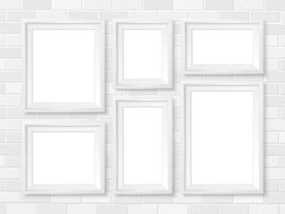 Frames wall gallery mockup white brick wall template
