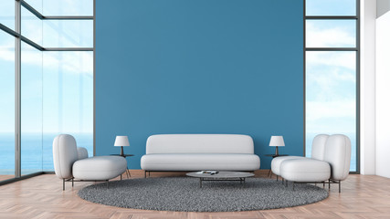 Modern interior living room wood floor with gray sofa and chair window sea view summer template for mock up 3d rendering. minimal living room design