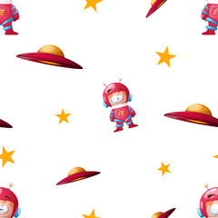 Ufo, cosmonaut cartoon illustration pattern. vector eps 10