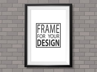 Frame grey brick wall photoframe mockup vector dark black