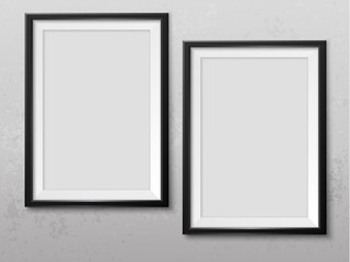 Frames wall gallery vector mock up grunge light grey 2