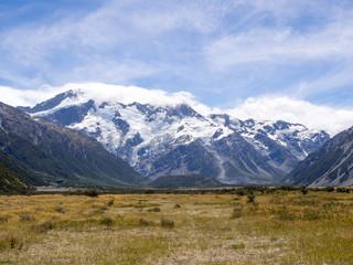Mountainous Glacial Landscape Mt Cook New Zealand