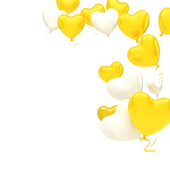 Yellow and white balloons in the shape of heart on the top right corner isolated on white background. 3D illustration of holidays, party, birthday balloons