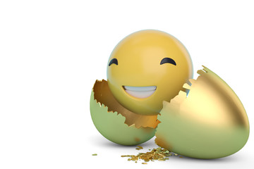Emoticon sign with break gold egg on white background. 3D illustration.