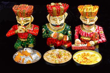 Indian Sweets. Rasmalai, Motichur Ladoo, Churma, Pune