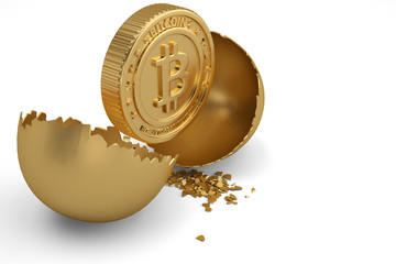 Bitcoin sign with break gold egg on white background. 3D illustration.