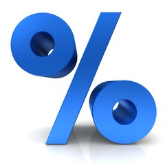 percent sign 3d blue percentage icon symbol