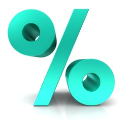 percent sign 3d percentage isolated