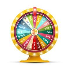 Spinning Money Wheel of Fortune with Jackpot Vector Illustration Isolated on White Background. Roulette Symbol.
