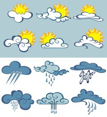 Big set of weather forecast with clouds, sun and rain