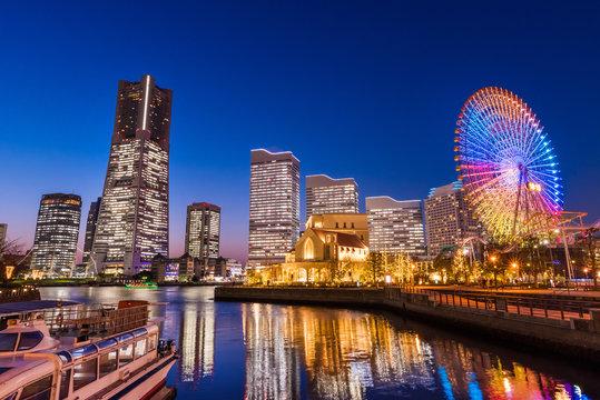 """横浜みなとみらいの夜景 / The night view of """"Minatomirai"""" in Yokohama, which is lit up brightly. Yokohama, Kanagawa, Japan."""