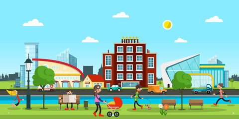 City. Vector Abstract Town with People in Park, Cars on Street, River and Comercial Buildings on Background.