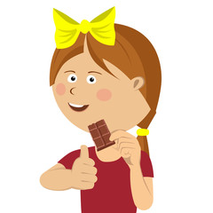 Cute little girl eating chocolate giving thumbs up