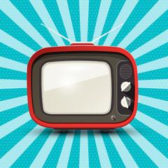 Red Retro Tv on Blue Vintage Background