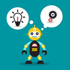 Cute Robot Toy with Bulb and Cogs in Speech Bubble