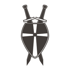 Ancient weapon and protective equipment. Scandinavian medieval shield crossed swords. An icon for the website. Crusader's board.Military equipment of soldiers. Concept design tattoo. Flat vector.