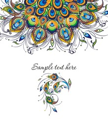 Invitation card templates with peacock patterned