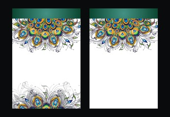 Peacock feathers, vector design of cover