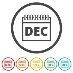 December calendar icon, Calendar sign, December month symbol, 6 Colors Included