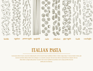 Vector banner with different types of traditional Italian pasta. Hand drawn background. Can be use for menu or packaging design. Italian cuisine illustration.