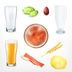 Set of beer and snack
