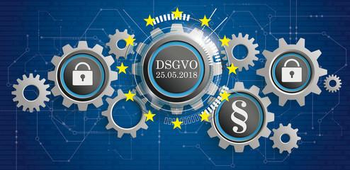 DSGVO Banner mit Zahnräder auf einem digitalen Hintergrund