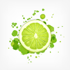 Lime slice with splash
