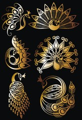 Peacock vector set in gold