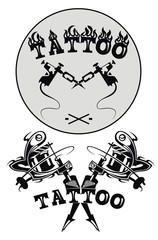 Tattoo studio emblems with tattoo machine