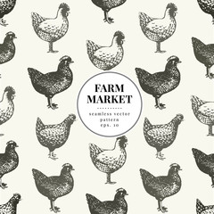 Seamless farm vector pattern. Graphical hen silhouette, hand drawn vintage illustrations. Retro farm birds background.